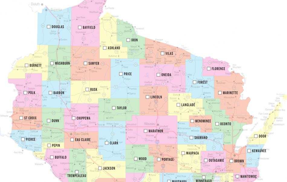 Wisconsin County Map The Gazette